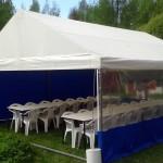 Teltta 5,2 m x 6 m. Kalustettuna n. 25 hlölle. Hinta alk. 450 eur.