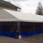 Teltta 5,2 x 12 m, 62,4 m2. Kalustettuna n. 40-45 hlölle. Hinta alk. 550 eur.